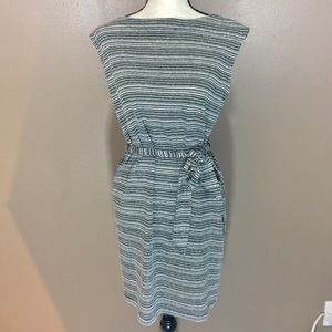 LOFT Linen Blend Striped Sleeveless Dress
